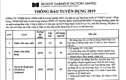 Công ty TNHH may Tinh Lợi thông báo tuyển dụng