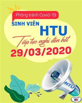 Sinh viên HTU nghỉ học đến hết 29/3/2020 để phòng chống dịch Covid-19