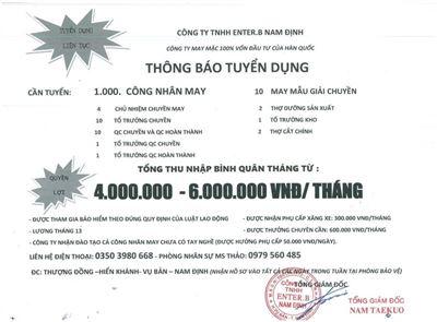 Công ty TNHH Enter.B Nam Định tuyển dụng
