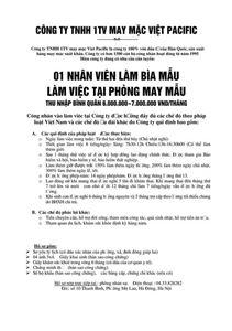 Công ty TNHH may mặc Viet Pacific tuyển dụng