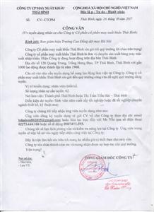 Công ty cổ phần may Xuất khẩu Thái Bình tuyển dụng