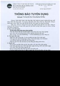 Công ty TNHH MTV may mặc Việt Pacific tuyển dụng nhân sự tại vị trí sửa chữa máy may