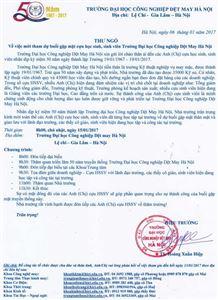 Thư ngỏ mời tham dự buổi gặp mặt cựu học sinh, sinh viên Trường Đại học Công nghiệp Dệt May Hà Nội