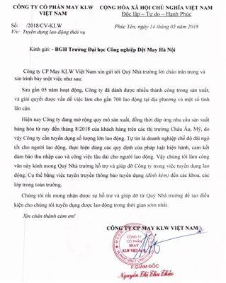 Thơ ngỏ về việc tuyển dụng lao động - Công ty CP May KLW Việt Nam