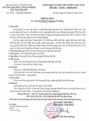Thông báo mở lớp tiếng Trung tại trường Đại học Công nghiệp Dệt May Hà Nội