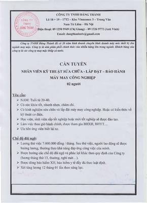 Công ty TNHH Đăng Thành tuyển dụng