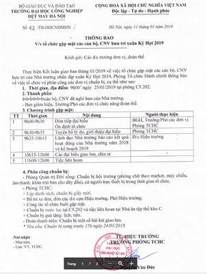 Thông báo về việc tổ chức gặp mặt các cán bộ, CNV hưu trí xuân Kỷ Hợi 2019