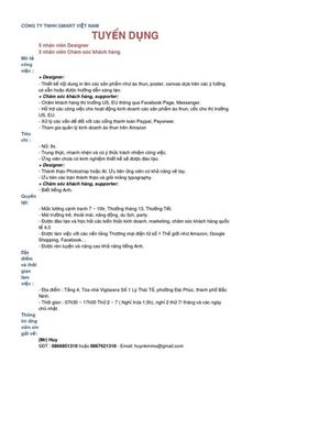 Thông báo tuyển dụng Công ty TNHH Gmart Việt Nam