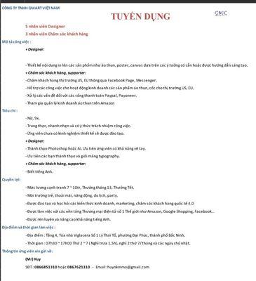Công ty TNHH GMART Việt Nam tuyển dụng