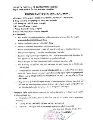 Công ty cổ phần CF Toàn Cầu Ninh Binh thông báo tuyển dụng