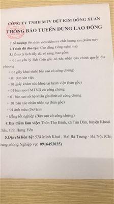 Công ty TNHH MTV Dệt kim Đông Xuân thông báo tuyển dụng