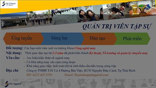 Thông báo tuyển dụng công ty TNHH TAV - Nguyễn Đức Cảnh- Thái Bình
