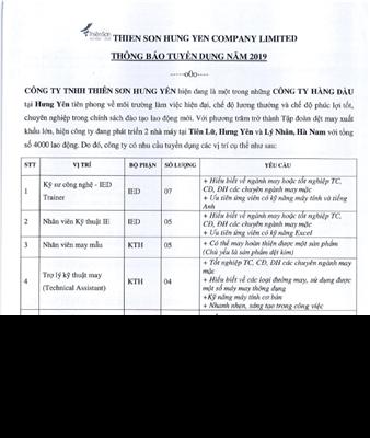 Thông báo tuyển dụng Công ty TNHH Thiên Sơn Hưng Yên