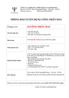 Công ty TNHH May Thời trang Nam Phương thông báo tuyển dụng