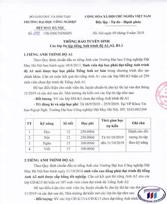 Thông báo tuyển sinh các lớp ôn tập tiếng Anh trình độ A1,A2,B1.1