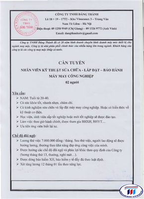 Công ty TNHH Đăng Thành thông báo tuyển dụng