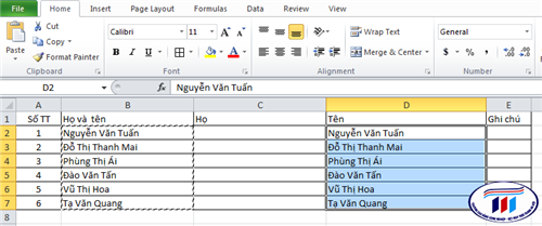 Cách tách họ tên trong Excel nhanh nhất