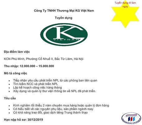 Thông tin tuyển dụng: Công ty thương mại KG Việt Nam tuyển dụng
