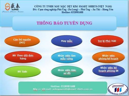 Thông báo tuyển dụng Công ty TNHH May mặc Dệt kim Smart shirts Việt Nam