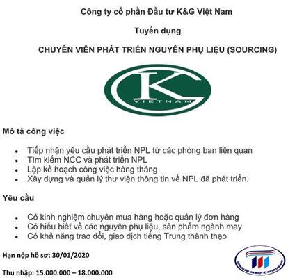 Công ty cổ phần đầu tư K&G Việt Nam tuyển dụng