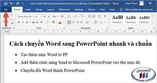 Hướng dẫn chuyển nội dung Word sang PowerPoint