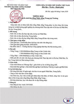 Thông báo tuyển sinh lớp tiếng Nhật, tiếng Trung tại Trường