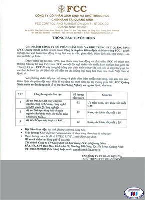 Thông báo tuyển dụng công ty Cổ phần Giám định và Khử trùng  FCC chi nhánh tại Quảng Ninh