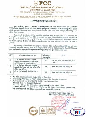 Công ty cổ phần giám định và khử trung FCC chi nhanh Quảng Ninh - Thông báo tuyển dụng