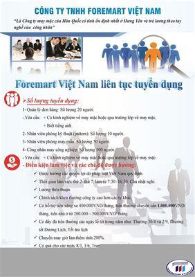 Công ty TNHH foremart Việt Nam thông báo tuyển dụng