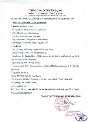 Thông báo tuyển dụng công ty CP XNK Quốc tế Thái Dương