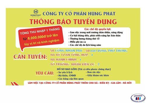 Công ty cổ phần Hùng Phát thông báo tuyển dụng