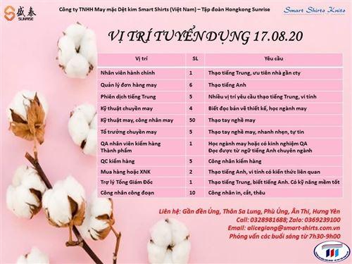 Công ty TNHH May mặc Dệt kim Smart Shirts (Việt Nam) Thông báo tuyển dụng