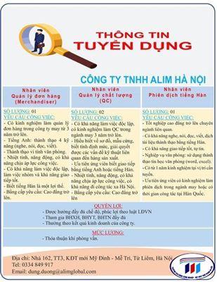 Công ty TNHH ALIM Hà Nội thông báo tuyển dụng