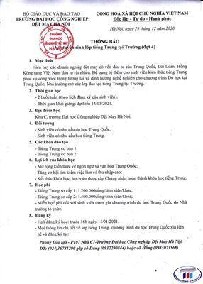 Thông báo tuyển sinh lớp tiếng Trung tại trường (đợt 4)
