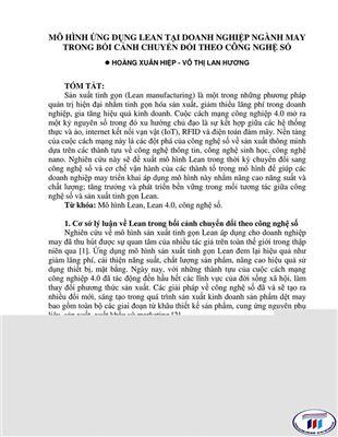 MÔ HÌNH ỨNG DỤNG LEAN TẠI DOANH NGHIỆP NGÀNH MAY TRONG BỐI CẢNH CHUYỂN ĐỔI THEO CÔNG NGHỆ SỐ