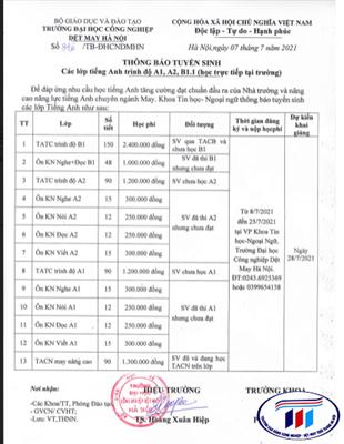 Thông báo tuyển sinh các lớp tiếng Anh trình độ A1,A2, B1.1