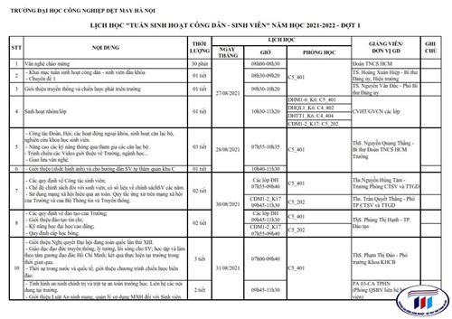 Lịch học Tuần sinh hoạt công dân - sinh viên năm học 2021-2022 (đợt 1)