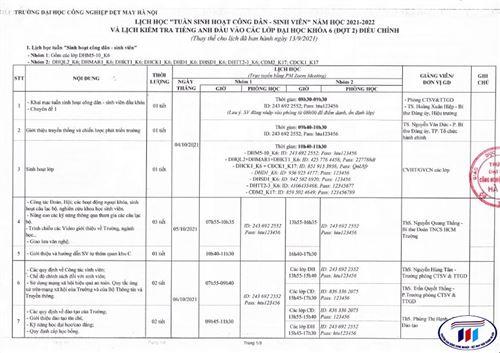 Lịch học Tuần sinh hoạt công dân - sinh viên và kiểm tra tiếng Anh đầu năm học 2021-2022 - Đợt 2 (điều chỉnh)