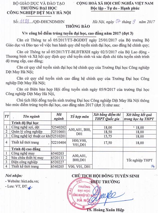 Thongbaovvcongbodiemtrungtuyendaihoccaodangnam2017dot3